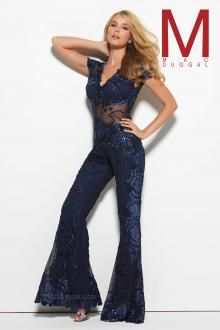 Feel enchanting with the Spring 2016 Mac Duggal Prom Dress Collections.   Sheer Navy Blue Jumpsuit for Prom.  Nontraditional prom dress option.   Style 1993M