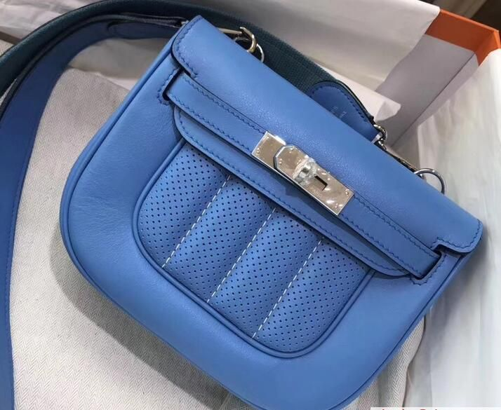 2017 Hermes Perforated mini berline bag original swift leather denim blue