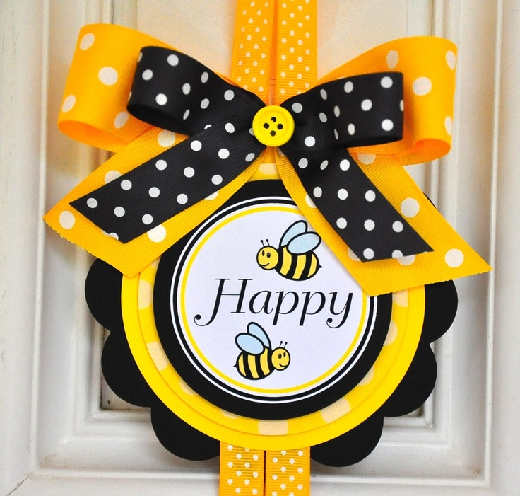 Door Sign Bumble Bee Theme Vertical Door Hanger by thepaperkingdom, $14.00