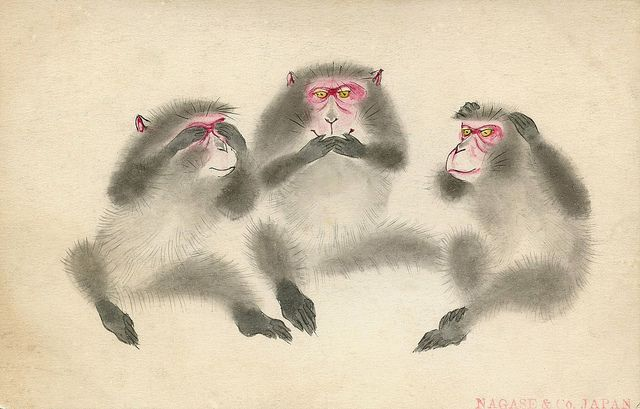 """The Three Wise Monkeys 1912.  A hand-drawn postcard from 1912 of Japanese Snow Monkeys posed as the """"Three Wise Monkeys"""", which illustrate the proverb """"see no evil, hear no evil, speak no evil"""". Their names are Mizaru (covering his eyes), Kikazuru (covering his ears) and Iwazaru (covering his mouth)"""