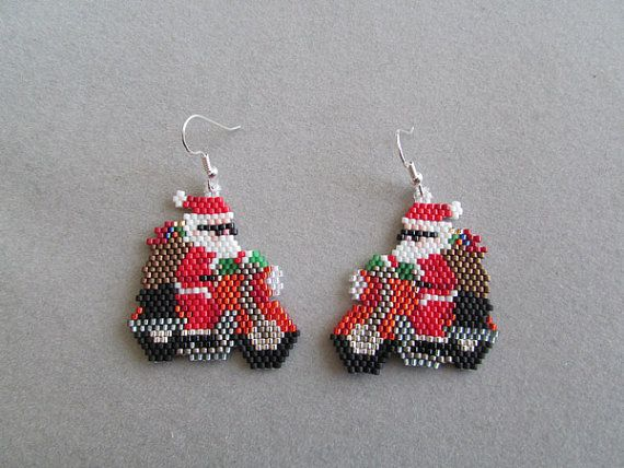 biker santa earrings for christmas in delica seed beads