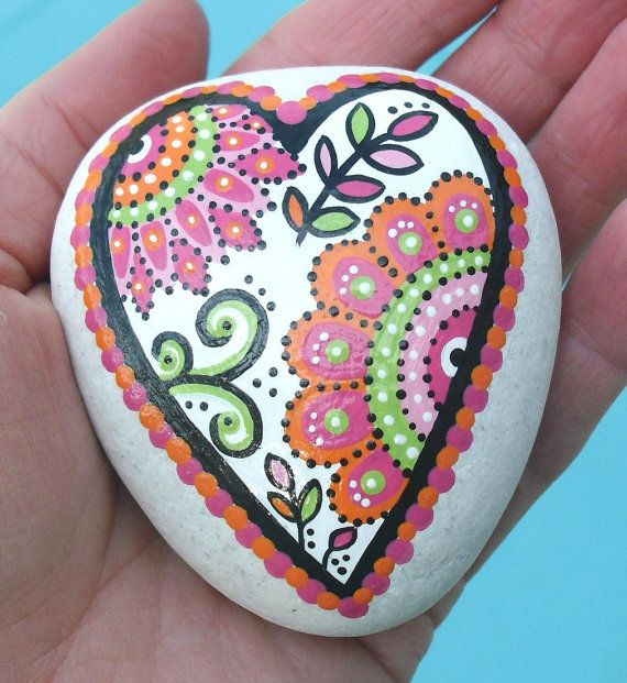 LisaEverettDesigns - Hand Painted Abstract Heart Flower Orange and Pink Original Art River Rock Stone