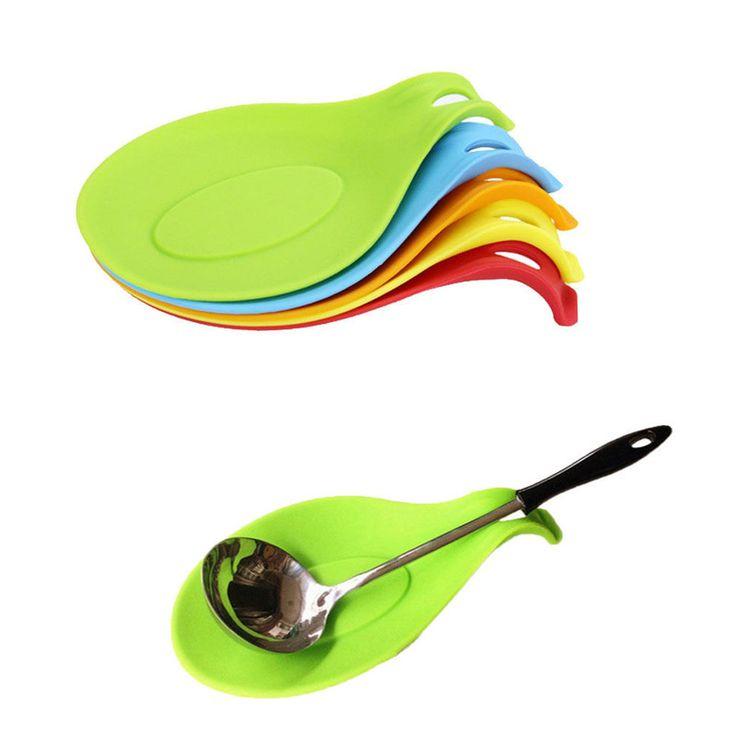 1 Pc Silicone Sendok Minuman Coaster Kaca Tray Tatakan Isolasi Tikar Silikon Tahan Panas penjualan panas Sendok Pad Alat Dapur