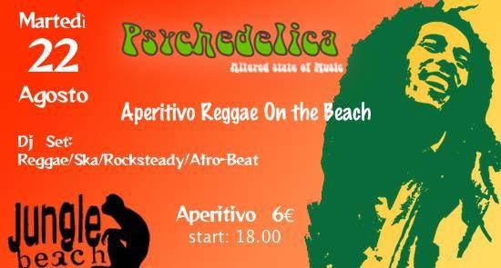 Jungle Beach presenta: Psychedelica: Aperitivo Reggae on the beach  Martedì 22 Agosto 2017 La calda e travolgente atmosfera dei mitici anni 60 e 70 torna in scena al Jungle Beach con Psychedelica: l'aperitivo on the beach. Questa settimana il nostro viaggio musicale vi porterà sulle coste della Jamaica alla scoperta della musica reggae e delle good vibes della cultura rasta. Un'eclettica selezione di roots, reggae, rocksteady, ska e afro-beat, un ricco buffet da accompagnare al vostro drink…