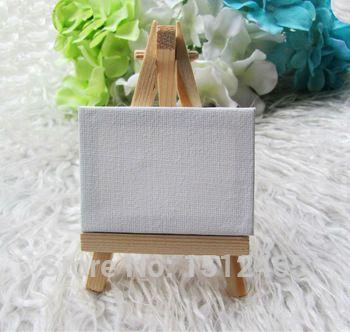 Бесплатный shippin 10 компл. мини дисплей мольберт с холст 7 * 5 см таблице свадьбы числа картина хобби деревянный мольберт для рисования