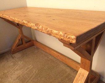 Live Edge Student Computer Desk Simple with Shelves Wooden Modern Desk Furniture