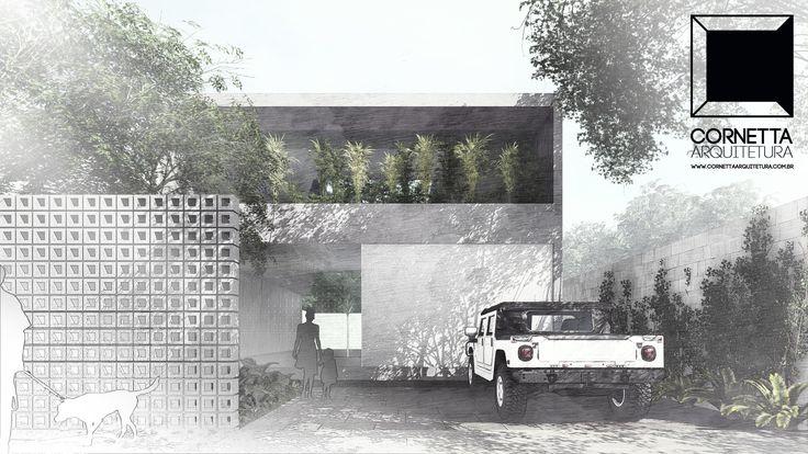 Estudo preliminar para residência pré-moldada em concreto aparente em Ubatuba-SP. #cornetta #arquitetura #casasmodernas