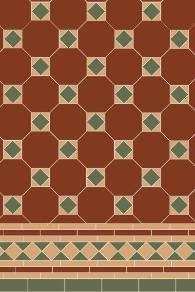 Arundel 3 Colour (Red/Green/Buff) Tile Pattern