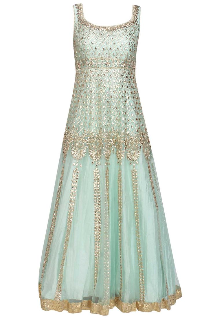 Powder blue gota patti and beads embroidered anarkali set available only at Pernia's Pop Up Shop.