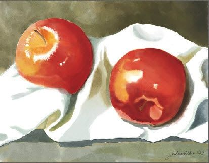 Free Digital Watercolour Painting Lesson on Painting a Simple Apple Still Life