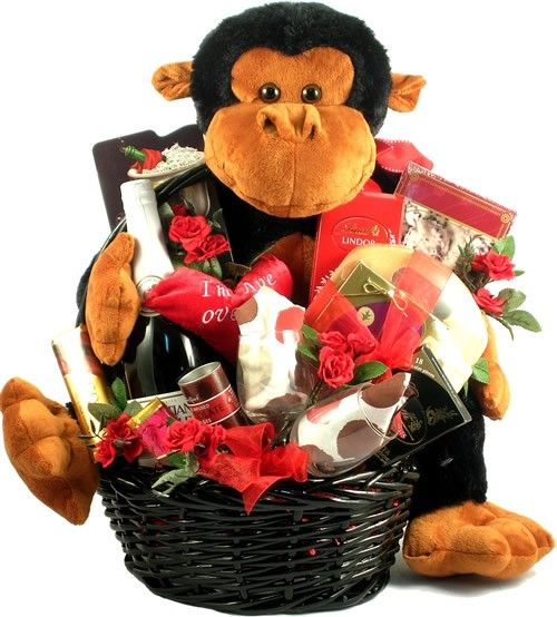 I'm Ape Over You Valentines Day Gift Basket     Can you say adorable, unique and way too cute to pass up!  Throw caution to the wind this Valentines Day with one of the best and most unique Valentines Day gift baskets arounds! $174.99    http://www.littlegiftbasketboutique.com/item_995/Im-Ape-Over-You-Valentines-Day-Gift-Basket.htm