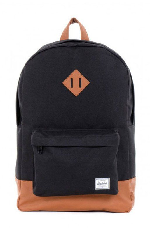 Black Heritage Backpack by Herschel. The bag was born from our signature vintage look, features an eco-friendly faux-leather bottom and detailing. The durable lightweight fabric and numerous features make the bag as your ideal daily backpack. http://www.zocko.com/z/JFjb3