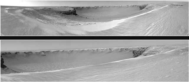 September 26, 2006. Mars Exploration Rover Opportunity reaches the rim of Victoria crater. Photo credit: NASAMars Exploration, Opportunity Reach, Exploration Rovers, Victoria Crater, Photos Credit, Rovers Opportunity, September 26