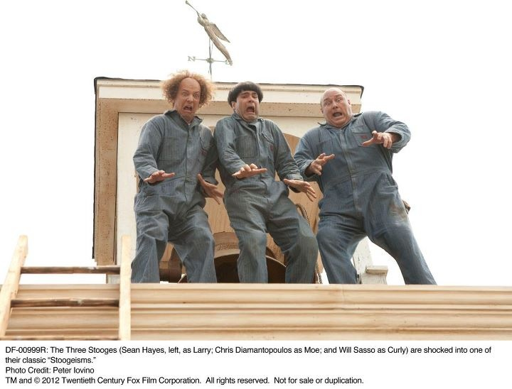 The Three Stooges (Sean Hayes, left, as Larry; Chris ...