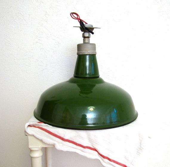 Vintage industrial light 1930s Green porcelain by AustinModern, $125.00
