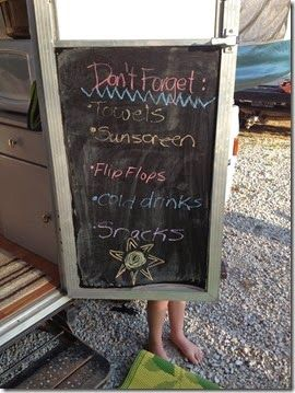 Pop up camper chalkboard door