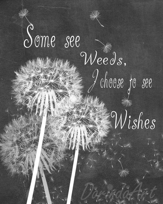 Dandelion art print Inspirational quote Chalkboard printable Dandelion wall decor Some see weeds I choose to see wishes INSTANT DOWNLOADAngela Hofer