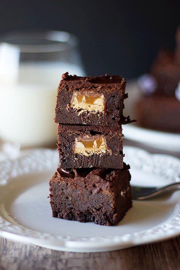Surprise Snickers Stuffed Brownies