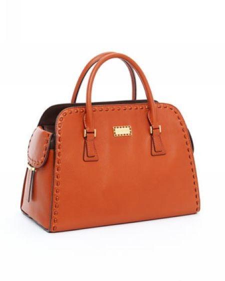 Michael Kors Gia Satchel Tangerine Leather