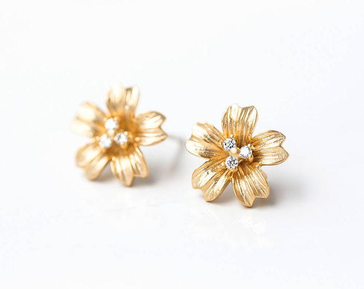 2628_Gold flower studs 12 mm, Cubic zirconia CZ studs, Earring posts, Clip earrings, Gold plated stud earrings, Post earrings findings_1pair by PurrrMurrr on Etsy