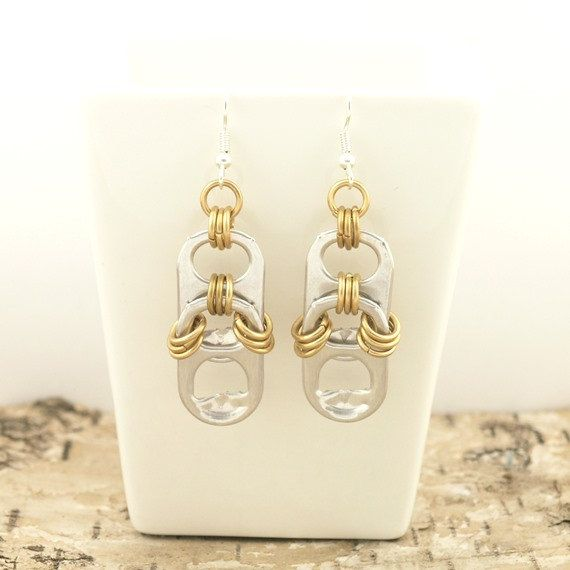 pop tabs and brass chainmaille earrings  pair upcycle by tabsolute, $7.00