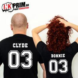 Set Tricouri Personalizate, Bonnie & Clyde + Număr