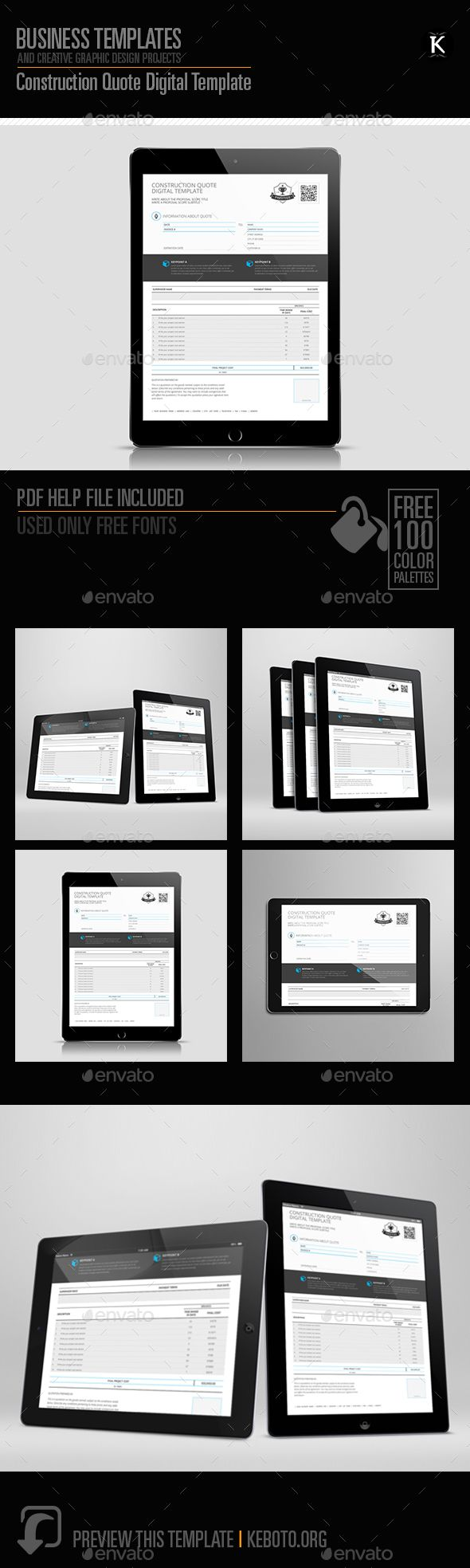construction proposal templates%0A Construction Quote Digital Template