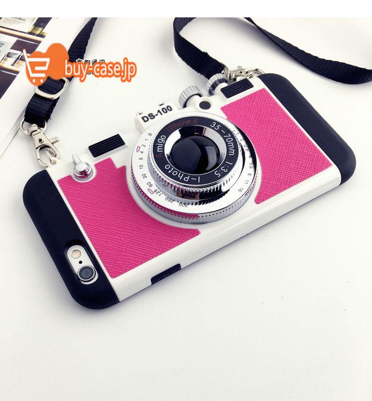 6s カバー ピンク韓国オリジナル ストラップ付きカメラ型iphone6ケースアイフォン7plusシリコン製耐衝撃個性的