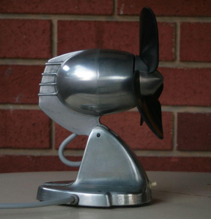 Gec rubber blade fan polished alloy art deco industrial c1940s fabulous