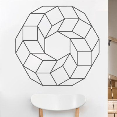 """EyvalDecal Cubed Ring Sacred Geometry Vinyl Wall Decal Size: 22"""" H x 22"""" W, Color: Dark Gray"""