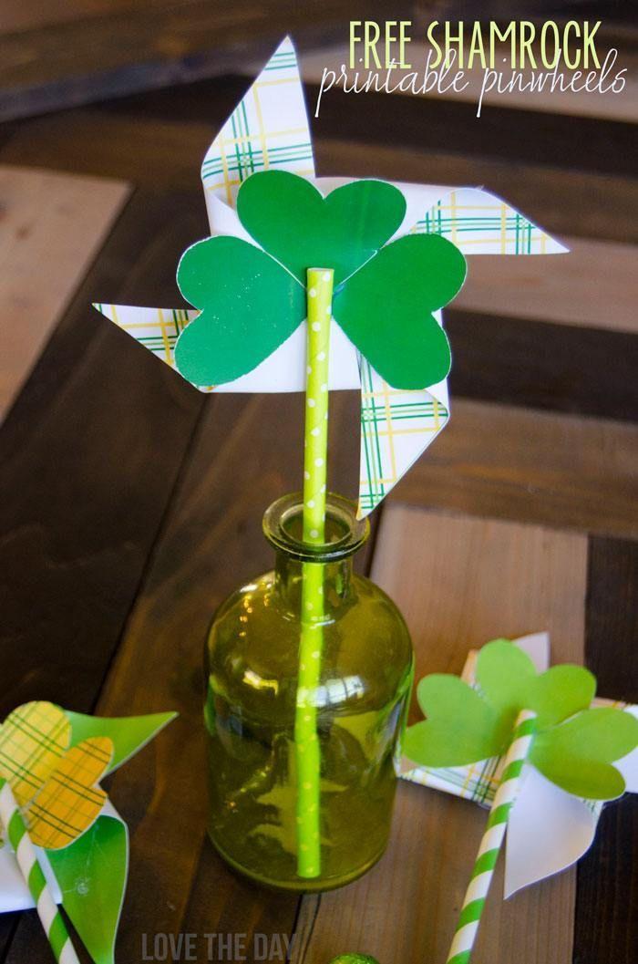 FREE Shamrock Printable Pinwheels & Tutorial by Love The Day