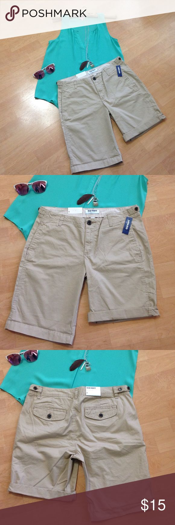 NWT Old Navy khaki Bermuda shorts, 💯 cotton NWT Old Navy khaki Bermuda shorts, 💯 cotton, size 8. Wear folded up for a shorter, sexier look or down for a more conservative feel. Ships same day of purchase! Old Navy Shorts Bermudas