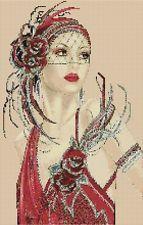 Amazing image is the creation of Flower Power37-UK......Cross stitch chart Art Deco Lady 8