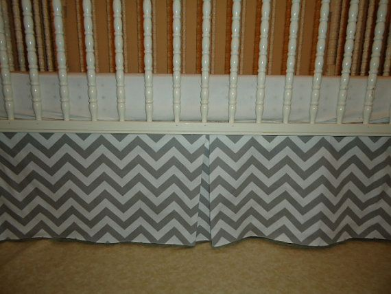 Solid Chevron Zig Zag Grey and white Crib Skirt Tailored,  Box-Pleat or flat Baby Crib Skir..Free Shipping. Blanket avble.