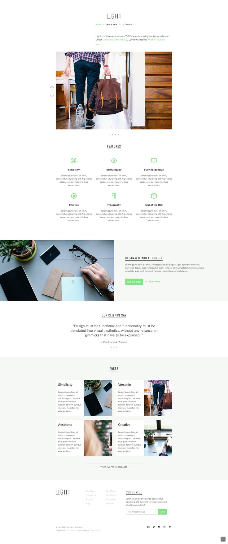Light is a free responsive HTML5 Bootstrap
