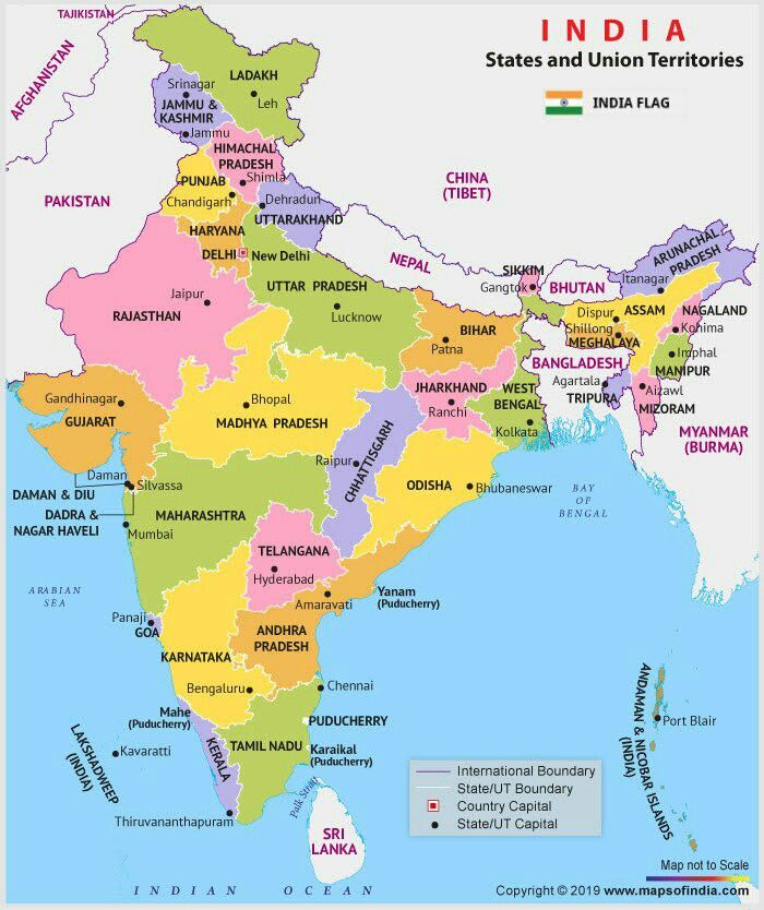 New Poltical Map Of India Political Map States And Capitals State Capitals Map