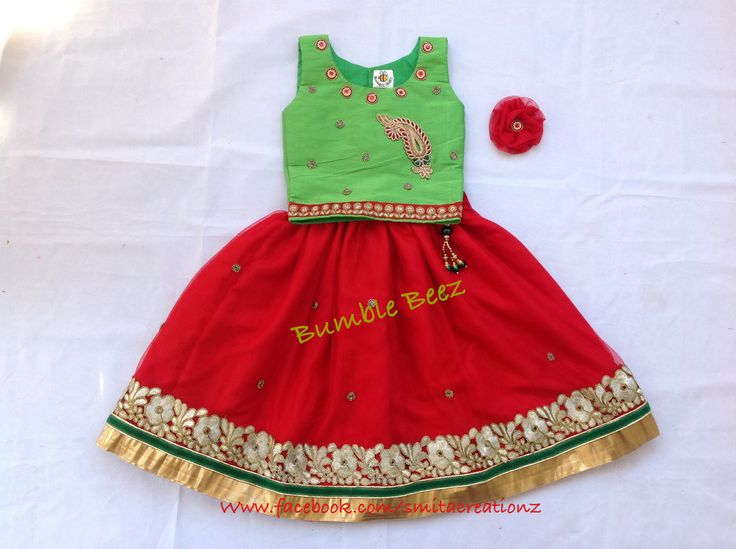 Parrot green with red Lehenga at Bumble Beez designer Dresses.