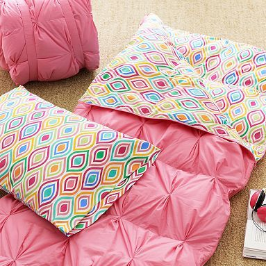 Pin Tuck Sleeping Bag + Pillowcase, Ogee #pbteen.  $99 plus $20 for matching pillow case.