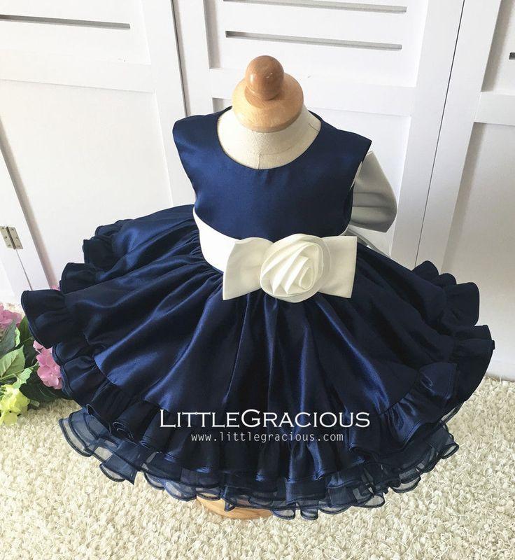 Azul marino niño/niño/bebé/recién nacido gracias niño vestido