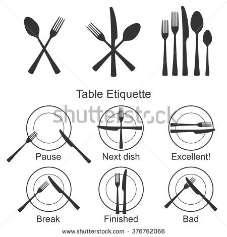 Cutlery and signs of table etiquette set. Vector illustration. Icons for catering facilities. Silhouette of forks, spoons, table knives and plates. Variants of tableware for cafes, restaurants.