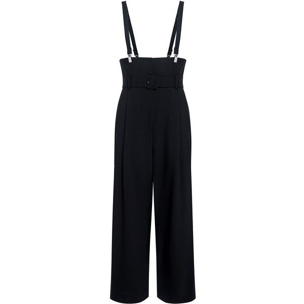 Tibi - Tropical Wool Suspender Pants (£400) ❤ liked on Polyvore featuring pants, wide-leg trousers, cropped trousers, wide leg cropped trousers, tibi pants and strappy pants