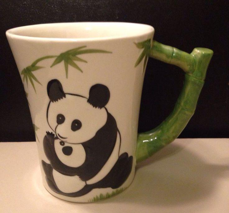 Pier 1 Imports Panda Bear Bamboo Handle Ceramic Coffee Mug