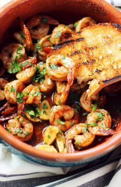 EASY Spanish Shrimp Tapas recipe. So much Spanish flavor packed into one little dish. #seafoodrecipes