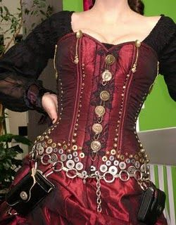 Steampunk Corset handmade and modeled by Gail Carriger author of The Parasol Protectorate.