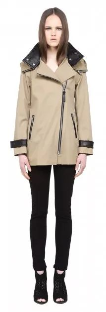 MACKAGE DARIA SAND SPRING TRENCH COAT FOR WOMEN WITH LEATHER COLLAR AND HOOD