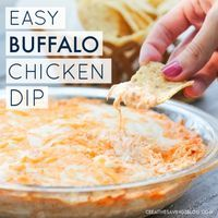 This simple Buffalo Chicken Dip makes a hearty addition to your snack table and comes together fast, especially if you have shredded chicken on hand. All your friends will be begging you for the recipe...guaranteed!