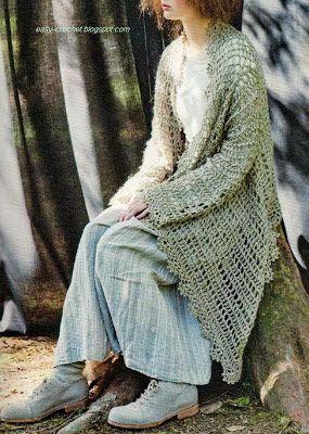 Stylish Easy Crochet: Crochet Cardigan - Stylish and Easy Cardigan for Young Women  ----  Cardigan / Strickjacke gehäkelt mit Grafik