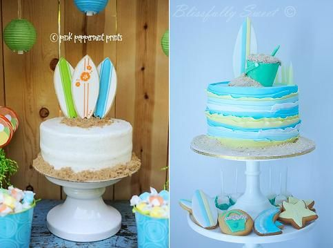 surf board cakes from Albertsons via Kara's Party Ideas left anf from Blissfully Sweet Cakes right