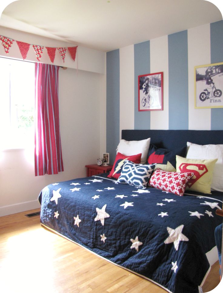 fall in love with these blue boys bedroom ideas cool blue and white stripe wall