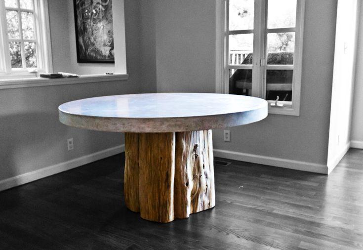 tree trunk base w/ concrete table top